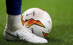 Close up of the official UEFA Europa League ball in action