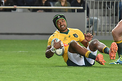 October 22, 2016 - Auckland, Auckland, New Zealand - Reece Hodge of Australia Wallabies scores a try  during the  Third Bledisloe Cup test match against New Zealand All Blacks. All Blacks defeats Wallabies 37-10. (Credit Image: © Shirley Kwok/Pacific Press via ZUMA Wire)