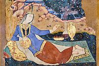Iran, province d'Ispahan, Ispahan, Palais de Chehel Sotun, peinture murale, femme persane buvant du vin // Iran, Isfahan, Chehel Sotun palace, Persian woman drinking wine