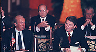 President Reagan during a meeting  of leaders at the Economic Summit in Tokyo on May 6, 1986. Secretary of State George Schultz is on the left of President Reagan.<br />Photo by Dennis Brack