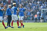 Portsmouth Forward, Brett Pitman (8) celebrates at the full time whistle after scoring the winning goal 2-1 during the EFL Sky Bet League 1 match between Portsmouth and Coventry City at Fratton Park, Portsmouth, England on 22 April 2019.