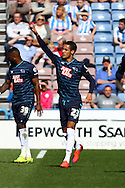 Thomas Ince of Derby County ® celebrates after scoring his teams 1st goal. Skybet football league championship match, Huddersfield Town v Derby county at the John Smith's stadium in Huddersfield, Yorkshire on Saturday 18th April 2015.<br /> pic by Chris Stading, Andrew Orchard sports photography.