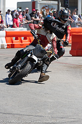 Revival and Roland Sands sponsored races including the Super Hooligan main attraction, all which that took place on a tight TT race course set up in the parking lot of the Austin American Statesman drew crowds outside during the Handbuilt Show. Austin, Texas USA. Saturday, April 13, 2019. Photography ©2019 Michael Lichter.