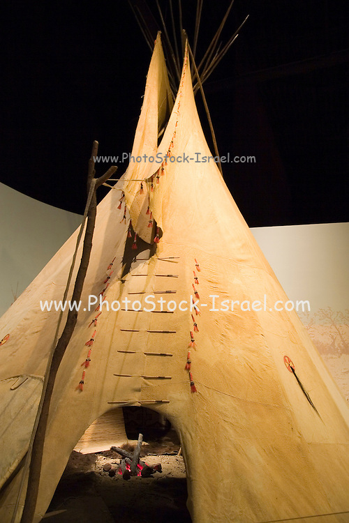 Topeka, Kansas KS, USA, Kansas museum of History, Tents of Kansan native American