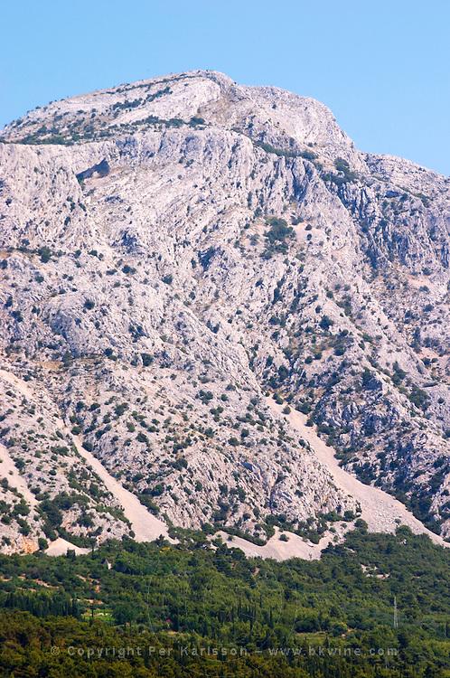 Mountain top of the Mount Sveti Ilija, with white rock formations. Peljesac Peninsula. Orebic town. Peljesac peninsula. Dalmatian Coast, Croatia, Europe.