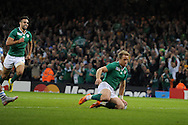 Ireland's Luke Fitzgerald scores his teams 1st try.  Rugby World Cup 2015 quarter-final match, Ireland v Argentina at the Millennium Stadium in Cardiff, South Wales  on Sunday 18th October 2015.<br /> pic by  Andrew Orchard, Andrew Orchard sports photography.