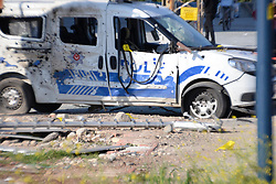 """April 3, 2017 - Mersin, Turkey - Two police officers were injured early on April 3 when explosive materials were thrown at their vehicle in the southern province of Mersin, Turkey, security officials said. Security forces have launched wide-ranging investigation following the attack in the Mezitli district, Provincial Police Chief Mehmet Åžahne said. He gave no further information about the incident. In addition, Mersin Governor Özdemir Çakacak said the explosive had likely been controlled by a remote control, adding that a detailed investigation into the attack was ongoing. """"Our security forces will apprehend the perpetrators as soon as possible,"""" Çakacak said. He added that the wounded police officers were taken to Mersin University's Medical Faculty Hospital and that they were in stable condition. (Credit Image: © Ali Ekber Sen/Depo Photos via ZUMA Wire)"""
