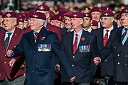 Veterans, incl the Paras, march past the Cenothaph and down Whitehall - Remembrance Sunday and Armistice Day commemorations fall on the same day, remembering the fallen of all conflicts but particularly the centenary of the end of World War One.