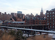© Licensed to London News Pictures. 31/12/2012. NYC, USA . The Empire State Building seen from the The High Line. Photo credit : Stephen Simpson/LNP