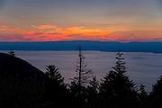 Sunset over Lac Leman, Lake Geneva, France looking towards Switzerland