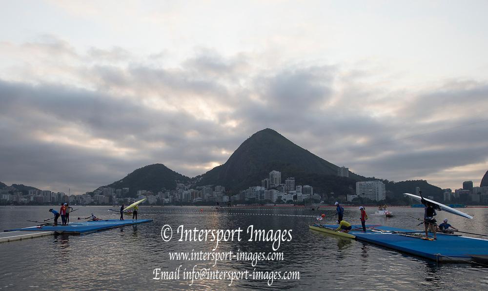 "Rio de Janeiro. BRAZIL.   General view over looking the boating area. 2016 Olympic Rowing Regatta. Lagoa Stadium,<br /> Copacabana,  ""Olympic Summer Games""<br /> Rodrigo de Freitas Lagoon, Lagoa.   Tuesday  09/08/2016 <br /> <br /> [Mandatory Credit; Peter SPURRIER/Intersport Images]"