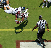 Aug 31, 2013; College Station, TX, USA; Texas A&M Aggies running back Ben Malena (1) dives for a touchdown against the Rice Owls during the first quarter at Kyle Field. Mandatory Credit: Thomas Campbell-USA TODAY Sports