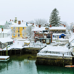 Snow drapes the South End of Portsmouth, New Hampshire.