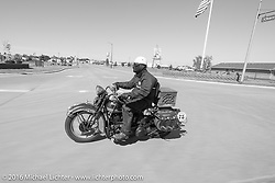Dan Emerson riding his 1936 Harley-Davidson Knucklehead during Stage 8 of the Motorcycle Cannonball Cross-Country Endurance Run, which on this day ran from Junction City, KS to Burlington, CO., USA. Saturday, September 13, 2014.  Photography ©2014 Michael Lichter.