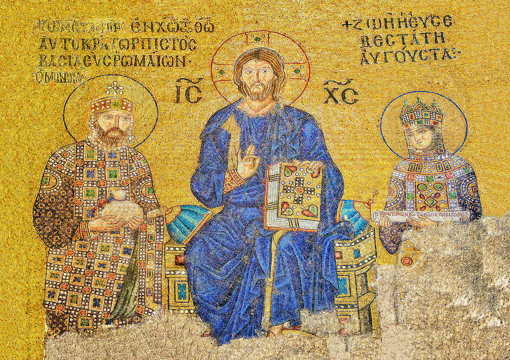 11th Century Byzantine mosaic of Christ Pantocrator with (left) Emperor Constantine IX Monmachus making an offering of money and (right) Empress Zoe. Hagia Sophia, Istanbul, Turkey .<br /> <br /> If you prefer to buy from our ALAMY PHOTO LIBRARY  Collection visit : https://www.alamy.com/portfolio/paul-williams-funkystock/istanbul.html<br /> <br /> Visit our TURKEY PHOTO COLLECTIONS for more photos to download or buy as wall art prints https://funkystock.photoshelter.com/gallery-collection/3f-Pictures-of-Turkey-Turkey-Photos-Images-Fotos/C0000U.hJWkZxAbg
