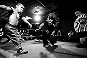 May 14, 2009-Denver, Colorado, USA-Micro Wrestling Federation wrestlers Jmazing, left, and Justice battle it out in the rign during a match at 3 Kings Tavern. (Credit Image: Bret Hartman/Zuma Press)