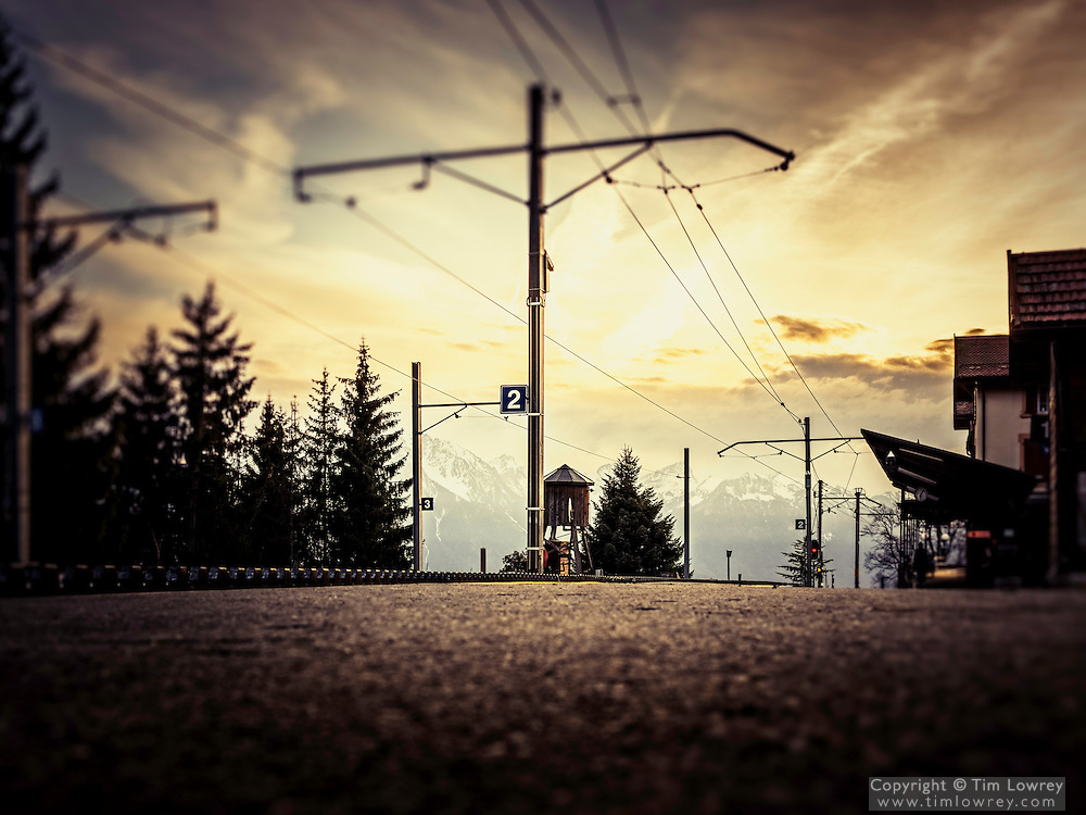 Caux Station at Sunset