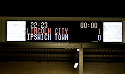 The scoreboard at Sincil Bank after Lincoln City beat Ipswich Town 1-0 in the FA Cup - Mandatory by-line: Robbie Stephenson/JMP - 17/01/2017 - FOOTBALL - Sincil Bank Stadium - Lincoln, England - Lincoln City v Ipswich Town - Emirates FA Cup third round replay