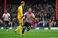 Brentford forward Saïd Benrahma (21) celebrates after scoring their second goal to make it 2-0*** during the EFL Sky Bet Championship match between Brentford and Queens Park Rangers at Griffin Park, London, England on 2 March 2019.