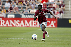 April 29, 2018 - Commerce City, Colorado - Colorado Rapids forward Dominique Badji (14) runs the ball towards the goal in the second half of action in the MLS soccer game between Orlando City SC and the Colorado Rapids at Dick's Sporting Goods Park in Commerce City, Colorado (Credit Image: © Carl Auer via ZUMA Wire)