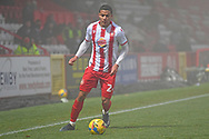 Stevenage defender Luther Wildin(2) runs forward during the FA Cup match between Stevenage and Swansea City at the Lamex Stadium, Stevenage, England on 9 January 2021.