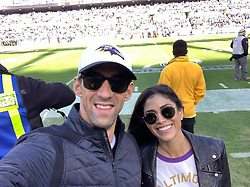 """Michael Phelps releases a photo on Instagram with the following caption: """"#tbt. Last weekend @mrs.nicolephelps and I went on a \u201cdate night trip\u201d back to Baltimore to see our @ravens! \nAlways just amazing to be able to spend time with each other but also the best to have to chance to see some of our amazing friends. #bmore #ravens"""". Photo Credit: Instagram *** No USA Distribution *** For Editorial Use Only *** Not to be Published in Books or Photo Books ***  Please note: Fees charged by the agency are for the agency's services only, and do not, nor are they intended to, convey to the user any ownership of Copyright or License in the material. The agency does not claim any ownership including but not limited to Copyright or License in the attached material. By publishing this material you expressly agree to indemnify and to hold the agency and its directors, shareholders and employees harmless from any loss, claims, damages, demands, expenses (including legal fees), or any causes of action or allegation against the agency arising out of or connected in any way with publication of the material."""