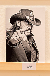 © Licensed to London News Pictures. 08/04/2016. A postcard featuring Lemmy  of Motorhead on display at The Royal College of Arts(RCA) 22nd annual Stewarts Law RCA Secret exhibition of postcards designed by well-known artists and designers. London, UK. Photo credit: Ray Tang/LNP