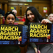 Stand Up To Racism  hosts Challenging the hostile environment and racism will democracy breaking its own law with Jeremy Corbyn labelling Brexit European  stealing job, Migrant rapist, Muslim terrorists, Muslim Grooming, African/Black is a criminal or rapist, Chinese the #coronavirus and let the refugees drown at Islington Town Hall on 6 March 2020, London, UK.
