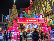 13 DECEMBER 2013 - BANGKOK, THAILAND: The entrance to the Christmas display at Siam Paragon shopping center in the Ratchaprasong area of Bangkok. Thailand is overwhelmingly Buddhist. Christmas is not a legal holiday in Thailand, but Christmas has become an important commercial holiday in Thailand, especially in Bangkok and communities with a large expatriate population.      PHOTO BY JACK KURTZ