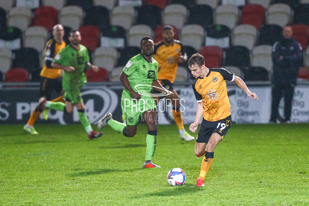 Newport County's Scott Twine (19) in action during the EFL Sky Bet League 2 match between Newport County and Port Vale at Rodney Parade, Newport, Wales on 21 November 2020.