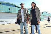Vertrek van de ambassadeurs van de Vrijheid vanaf vliegbasis Gilze Rijen . De Ambassadeurs van de Vrijheid zullen dankzij de inzet van Defensie optreden op de veertien Bevrijdingsfestivals. <br /> <br /> OP de foto / On the photo:  DJ-duo Sunnery James & Ryan Marciano