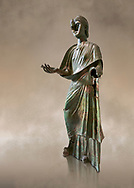 Bronze statue of Roman empress Julia Aquilia Severa found at Sparta. circa 221-222 AD.  Athens National Archaeological Museum, Cat No X23321.<br /> <br /> The women in the Bronze statue wears a Chiton and himation and would have had a crwon on her head. The hair style is typical of the Severan dynisty. Julia Aquilia was the last wife of emperor Elagobalus (218-222 AD) and the damage to the statue is due to a building collapsing on it after a fire circa 221-222 AD .<br /> <br /> If you prefer to buy from our ALAMY STOCK LIBRARY page at https://www.alamy.com/portfolio/paul-williams-funkystock/greco-roman-sculptures.html . Type -    Athens    - into LOWER SEARCH WITHIN GALLERY box - Refine search by adding a subject, place, background colour, etc.<br /> <br /> Visit our ROMAN WORLD PHOTO COLLECTIONS for more photos to download or buy as wall art prints https://funkystock.photoshelter.com/gallery-collection/The-Romans-Art-Artefacts-Antiquities-Historic-Sites-Pictures-Images/C0000r2uLJJo9_s0