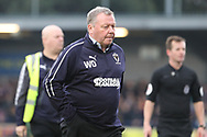 AFC Wimbledon manager Wally Downes walking off the pitch during the The FA Cup 5th round match between AFC Wimbledon and Millwall at the Cherry Red Records Stadium, Kingston, England on 16 February 2019.