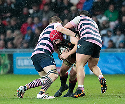 Dragons' Cory Hill under pressure from Cardiff Blues' Olly Robinson<br /> <br /> Photographer Simon King/Replay Images<br /> <br /> Guinness Pro14 Round 11 - Dragons v Cardiff Blues - Tuesday 26th December 2017 - Rodney Parade - Newport<br /> <br /> World Copyright © 2017 Replay Images. All rights reserved. info@replayimages.co.uk - www.replayimages.co.uk