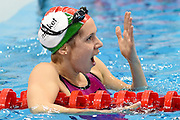 Boglarka Kapas just realises she has won the Gold Medal in the 400m Freestyle on day 14 of the 33rd  LEN European Aquatics Championship Swimming Finals 2016 at the London Aquatics Centre, London, United Kingdom on 22nd May 2016. Photo by Martin Cole.