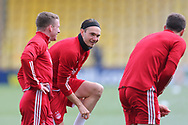 Aberdeen's Ryan Hedges (11) warming up during the Scottish Premiership match between Livingston and Aberdeen at Tony Macaroni Arena, Livingstone, Scotland on 1 May 2021.