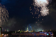 Moscow, Russia, 09/05/2010..Fireworks explode over the Kremlin and Red Square in the traditional salute at the end of the Victory Day celebrations, which this year were the largest ever.