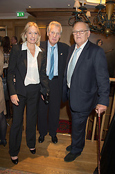 Left to right, LADY JACQUELINE RUFUS-ISAACS, ANDREW TROLLOPE QC and DAVID WYNNE-MORGAN at the launch of BAR20 at Birleys, 20 Fenchurch Street, City of London on 10th November 2015.