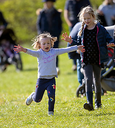 Mia Tindall (left) and Savannah Phillips at the Land Rover Gatcombe Horse Trials, on Gatcombe Park, Gloucestershire.