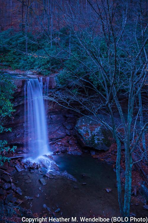 """Blue Moonrise""<br /> October 31, 2020<br /> Cucumber Falls in Ohiopyle State Park, Pennsylvania"