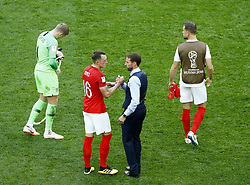 July 14, 2018 - Saint Petersburg, Russia - England v Belgium - Play off for third place final FIFA World Cup Russia 2018.England coach Gareth Southgate and Phil Jones (England) after the match at Saint Petersburg Stadium in Russia on July 13, 2018. (Credit Image: © Matteo Ciambelli/NurPhoto via ZUMA Press)