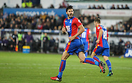 James Tomkins of Crystal Palace celebrates his teams second goal, 3-2, during the Premier League match between Swansea City and Crystal Palace at the Liberty Stadium, Swansea, Wales on 26 November 2016. Photo by Andrew Lewis.