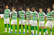 Christopher Jullien Mohamed Elyounoussi Odsonne Edouard Ryan Christie Boli Bolingoli James Forrest & Callum McGregor during the Europa League match between Celtic and CFR Cluj at Celtic Park, Glasgow, Scotland on 3 October 2019.