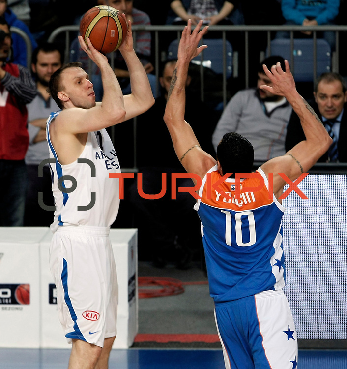 Anadolu Efes's Dusko Savanovic (L) during their Turkish Basketball League match Anadolu Efes between Mersin BSB at Sinan Erdem Arena in Istanbul, Turkey, Saturday, January 14, 2012. Photo by TURKPIX