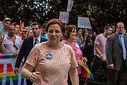 City Councillor Christine Quinn, who is running for mayor of New York City in 2013, on Christopher Street.