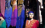 Display of belly dancer costumes in shop window in Turkey