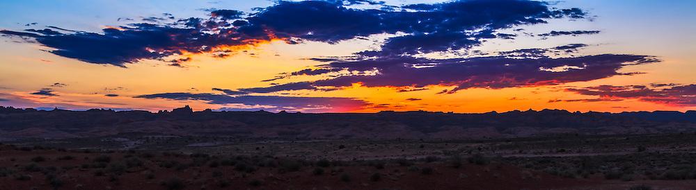 Sunrise on the desert floor in Arches National Park, Utah.