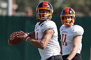 Los Angeles Wildcats quarterback Jalan McClendon (2) throws the ball as receiver Nelson Spruce (11) watches during practice, Wednesday, Feb. 5, 2020, in Long Beach, Calif. The Wildcats are part of the eight-team XFL, a professional American football league owned by Vince McMahon's Alpha Entertainment, with  headquarters in Stamford, Connecticut. It is the successor to the original XFL, which was controlled by the World Wrestling Federation (WWF, now WWE)  and NBC, and ran for a single season in 2001.