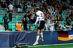 LJUBLJANA, SLOVENIA - JUNE 06: Lukas Nmecha of Germany celebrates after scoring their side's first goal  during the 2021 UEFA European Under-21 Championship Final match between Germany and Portugal at Stadion Stozice on June 6, 2021 in Ljubljana, Slovenia. Photo by Grega Valancic / Sportida