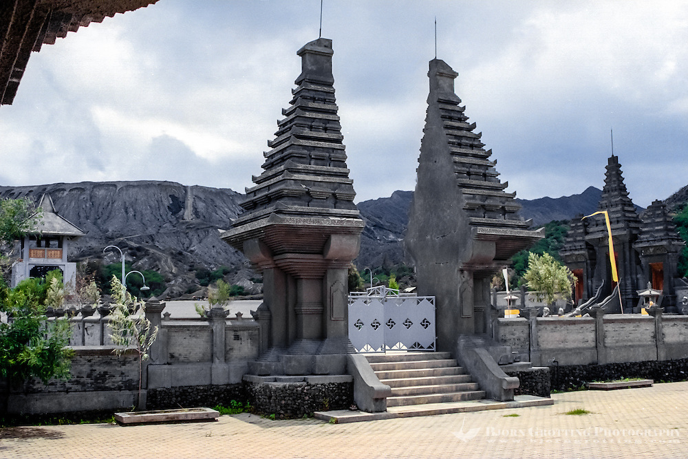 Java, East Java, Mount Bromo. A split gate on the Pura Luhur Poten, a hindu temple at the foot of Mount Bromo.
